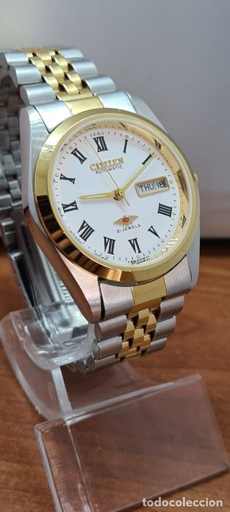 Relojes automáticos: Reloj (Vintage) CITIZEN automático acero bicolor, esfera blanca, doble calendario, correa original - Foto 5 - 284407063