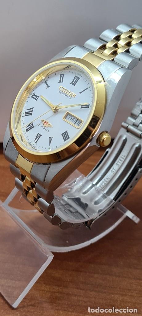 Relojes automáticos: Reloj (Vintage) CITIZEN automático acero bicolor, esfera blanca, doble calendario, correa original - Foto 6 - 284407063
