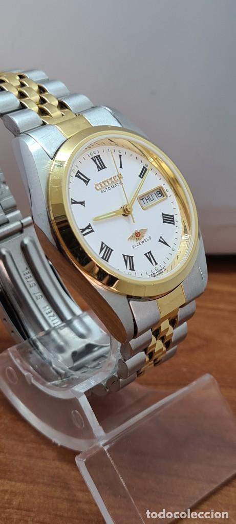 Relojes automáticos: Reloj (Vintage) CITIZEN automático acero bicolor, esfera blanca, doble calendario, correa original - Foto 7 - 284407063