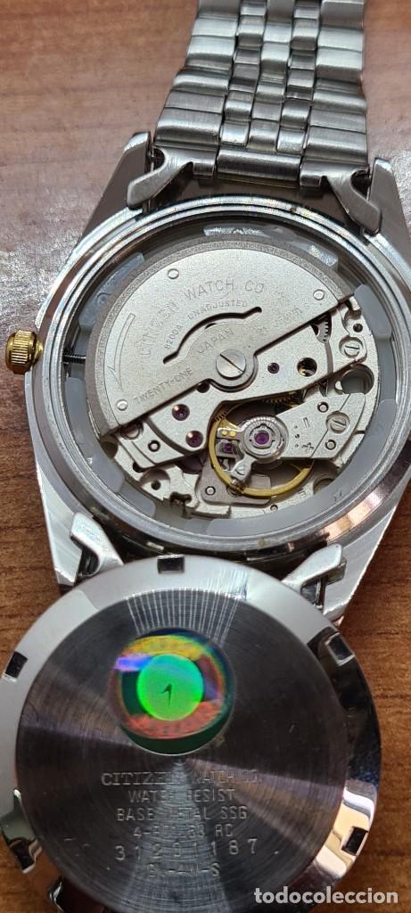 Relojes automáticos: Reloj (Vintage) CITIZEN automático acero bicolor, esfera blanca, doble calendario, correa original - Foto 9 - 284407063