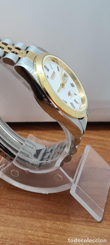 Relojes automáticos: Reloj (Vintage) CITIZEN automático acero bicolor, esfera blanca, doble calendario, correa original - Foto 11 - 284407063