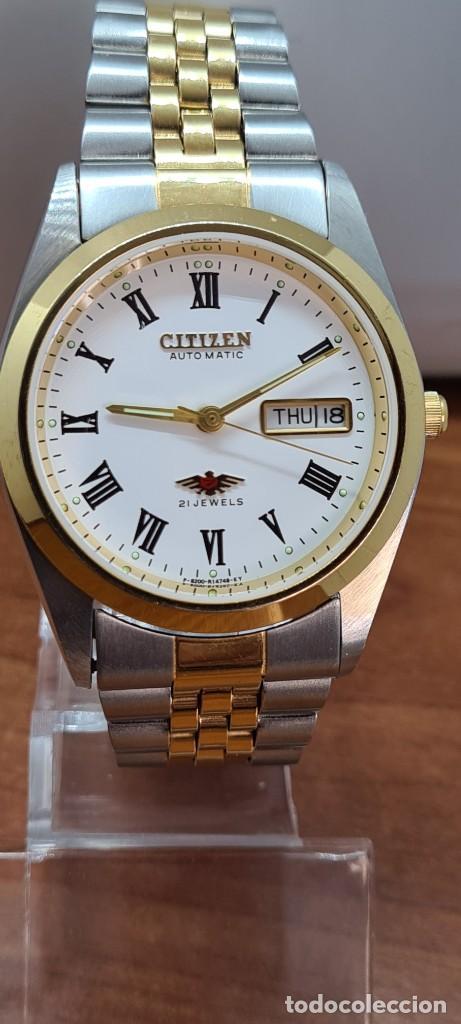 Relojes automáticos: Reloj (Vintage) CITIZEN automático acero bicolor, esfera blanca, doble calendario, correa original - Foto 13 - 284407063