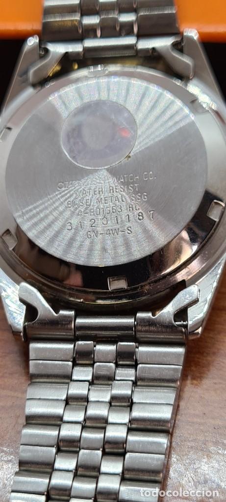 Relojes automáticos: Reloj (Vintage) CITIZEN automático acero bicolor, esfera blanca, doble calendario, correa original - Foto 14 - 284407063
