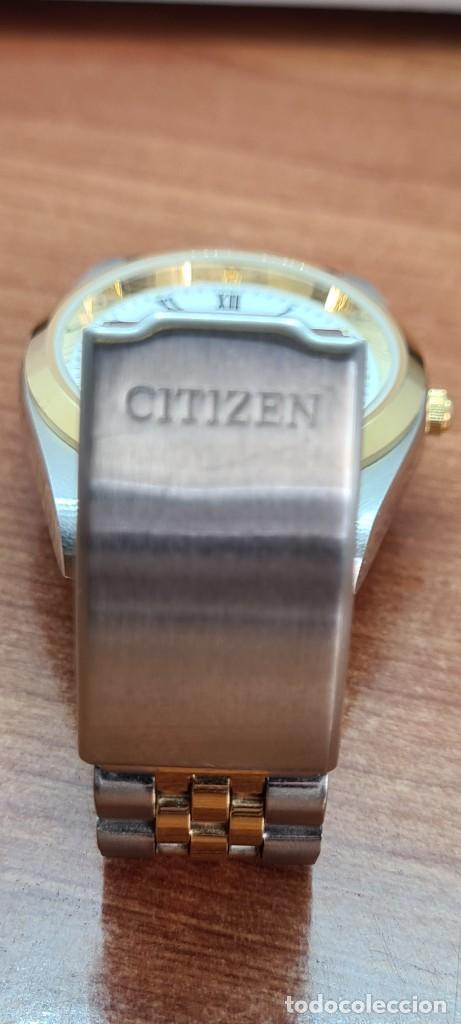 Relojes automáticos: Reloj (Vintage) CITIZEN automático acero bicolor, esfera blanca, doble calendario, correa original - Foto 16 - 284407063