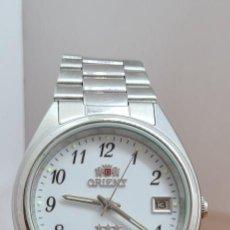 Relojes automáticos: RELOJ (VINTAGE) ORIENT AUTOMÁTICO DE ACERO, ESFERA BLANCA, CALENDARIO LAS TRES, CORREA ACERO ORIENT. Lote 284411993