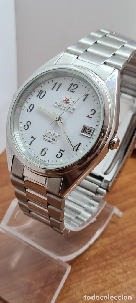 Relojes automáticos: Reloj (Vintage) ORIENT automático de acero, esfera blanca, calendario las tres, correa acero Orient - Foto 4 - 284411993