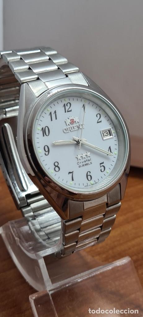 Relojes automáticos: Reloj (Vintage) ORIENT automático de acero, esfera blanca, calendario las tres, correa acero Orient - Foto 5 - 284411993