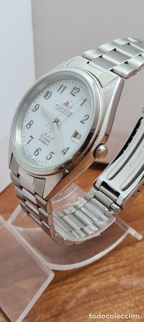 Relojes automáticos: Reloj (Vintage) ORIENT automático de acero, esfera blanca, calendario las tres, correa acero Orient - Foto 6 - 284411993