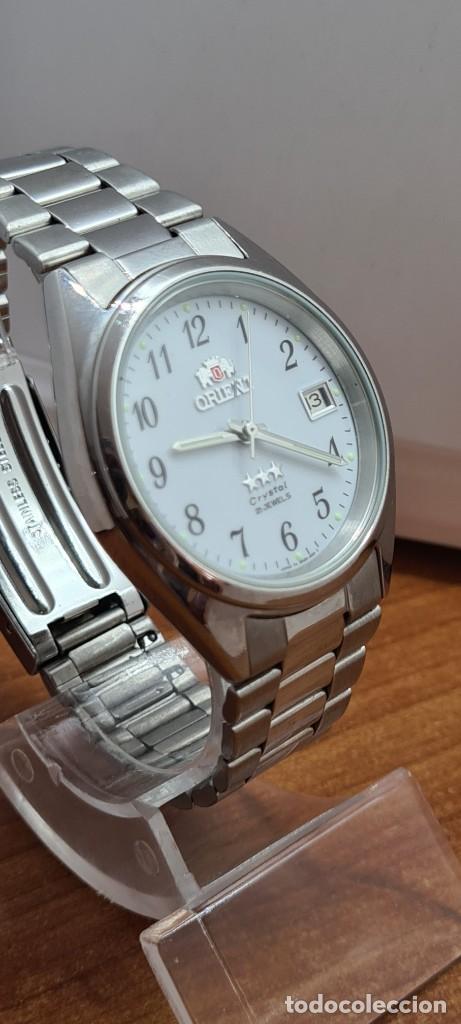 Relojes automáticos: Reloj (Vintage) ORIENT automático de acero, esfera blanca, calendario las tres, correa acero Orient - Foto 7 - 284411993
