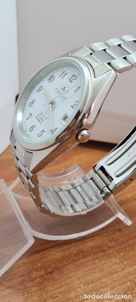 Relojes automáticos: Reloj (Vintage) ORIENT automático de acero, esfera blanca, calendario las tres, correa acero Orient - Foto 8 - 284411993