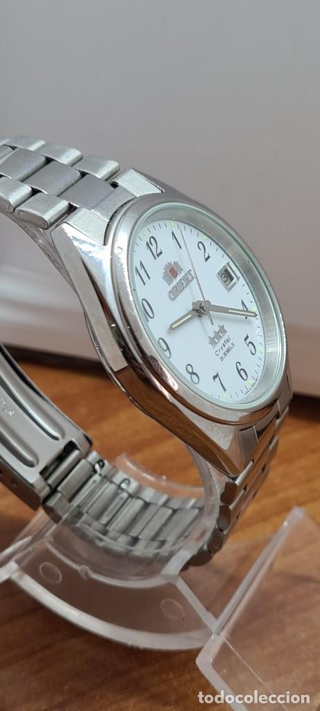 Relojes automáticos: Reloj (Vintage) ORIENT automático de acero, esfera blanca, calendario las tres, correa acero Orient - Foto 10 - 284411993