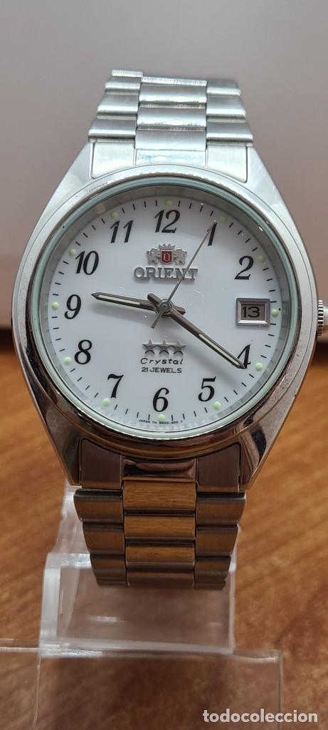 Relojes automáticos: Reloj (Vintage) ORIENT automático de acero, esfera blanca, calendario las tres, correa acero Orient - Foto 13 - 284411993
