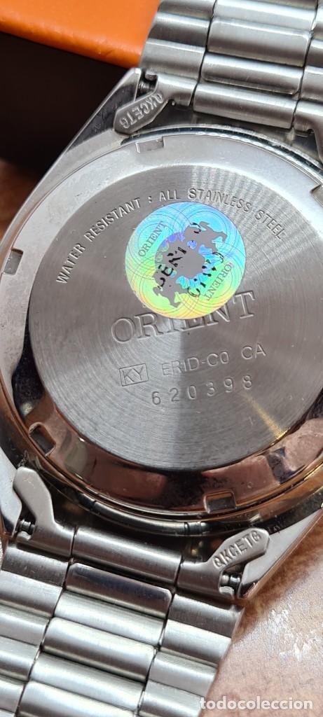 Relojes automáticos: Reloj (Vintage) ORIENT automático de acero, esfera blanca, calendario las tres, correa acero Orient - Foto 16 - 284411993