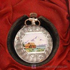 Relojes de bolsillo: RELOJ DE BOLSILLO DE PLATA Y ESMALTES SIGLO XIX EN SU ESTUCHE. Lote 26311183