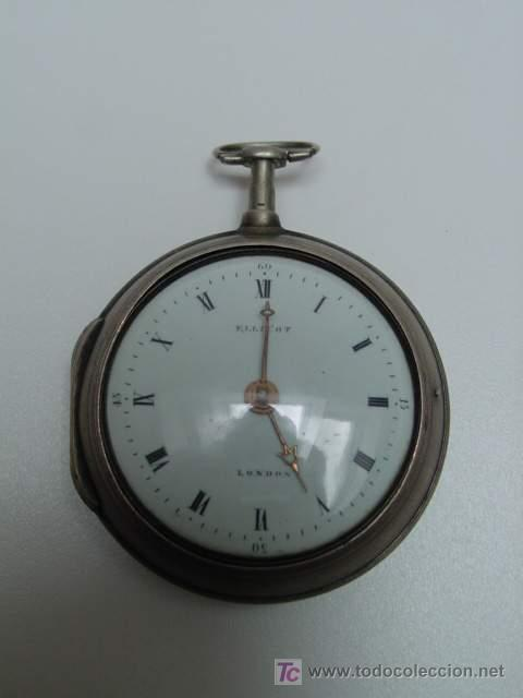 Relojes de bolsillo: RELOJ INGLES DE DOBLE CAJA ELLICOT - Foto 2 - 27196971