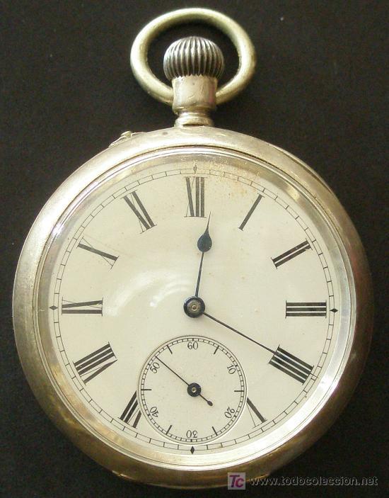 ANTIGUO RELOJ BOLSILLO PLATA - FUNCIONANDO (Relojes - Bolsillo Carga Manual)