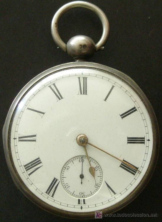 ANTIGUO RELOJ BOLSILLO PLATA - CUERDA LLAVE - VER MAS FOTOS (Relojes - Bolsillo Carga Manual)