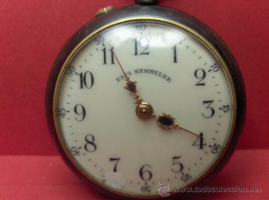 Relojes de bolsillo: ,,,PAUL HEMMELER,,,RELOJ BOLSILLO,,,PAVONADO,,,FUNIONANDO Y EN HORA. ( B - 4 ). - Foto 2 - 52477852