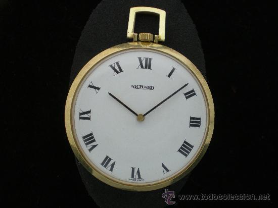 BOLSILLO METAL CHAPADO RICHARD. (Relojes - Bolsillo Carga Manual)