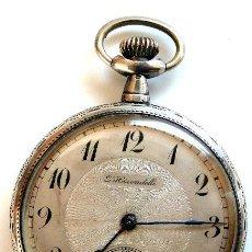 Relojes de bolsillo: RELOJ DE PLATA LABRADA MARCA L´HIRONDELLE -- RARO. Lote 27346605