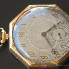 Relojes de bolsillo: ORIGINAL ANTIGUO RELOJ BOLSILLO CAJA ORO - WALTHAM - FUNCIONANDO.. Lote 31236704