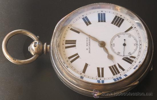 MAGNIFICO RELOJ BOLSILLO CAJA PLATA - LLAVE - FUNCIONANDO (Relojes - Bolsillo Carga Manual)