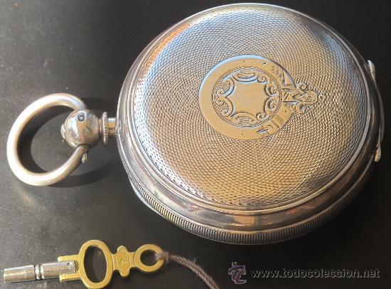Relojes de bolsillo: MAGNIFICO RELOJ BOLSILLO CAJA PLATA - LLAVE - FUNCIONANDO - Foto 4 - 31238513