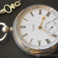Relojes de bolsillo: MAGNIFICO RELOJ ANTIGUO ORIGINAL CAJA PLATA - LLAVE - FUNCIONA PERFECTO. Lote 31238626