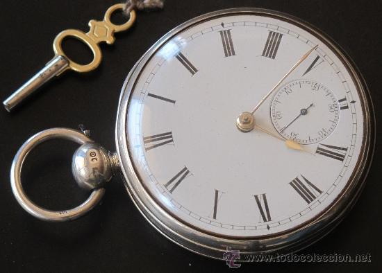 MAGNIFICO RELOJ BOLSILLO CAJA PLATA - LLAVE - FUNCIONA PERFECTAMENTE (Relojes - Bolsillo Carga Manual)