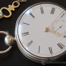 Relojes de bolsillo: MAGNIFICO RELOJ BOLSILLO CAJA PLATA - LLAVE - FUNCIONA PERFECTAMENTE. Lote 31239868