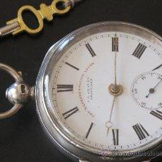Relojes de bolsillo: ORIGINAL ANTIGUO RELOJ BOLSILLO CAJA PLATA - LLAVE - FUNCIONANDO PERFECTAMENTE. Lote 31240410