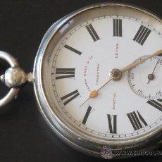 Relojes de bolsillo: RELOJ BOLSILLO CAJA PLATA - ANTIGUO ORIGINAL - FUNCIONA PERFECTAMENTE. Lote 31240529