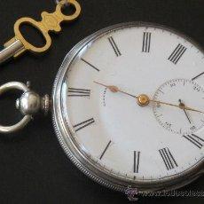 Relojes de bolsillo: MAGNIFICO RELOJ BOLSILLO LLAVE - CAJA PLATA - FUNCIONA PERFECTAMENTE. Lote 31240792