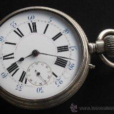 Relojes de bolsillo: PRECIOSO GRAN RELOJ PLATA ANCRE LIGNE DROITE REMONTOIR 15 RUBIS FUNCIONA PERFECTAMENTE. Lote 31303850