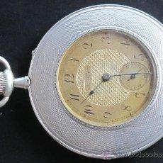 Relojes de bolsillo: HALF CHRONOMETER ORIGINAL ANTIGUO EXTRAPLANO RELOJ BOLSILLO PLATA, NATIONAL WATCH CO. CHAUX DE FONDS. Lote 31304877