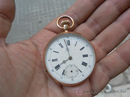ANTIGUO RELOJ. BOLSILLO. REMONTOIR. ORO DE 14 QUILATES. (Relojes - Bolsillo Carga Manual)