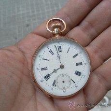 Relojes de bolsillo: ANTIGUO RELOJ. BOLSILLO. REMONTOIR. ORO DE 14 QUILATES. . Lote 32313026