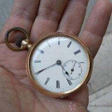 Relojes de bolsillo: ANTIGUO RELOJ. BOLSILLO. ORO DE 14 QUILATES.. Lote 32313124