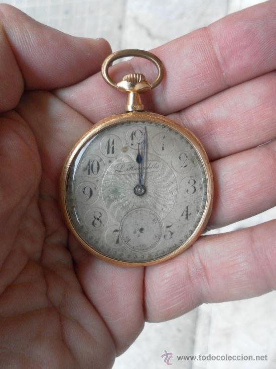 ANTIGUO RELOJ. L. HIRONDELLES. BOLSILLO. ORO DE 18 QUILATES. (Relojes - Bolsillo Carga Manual)