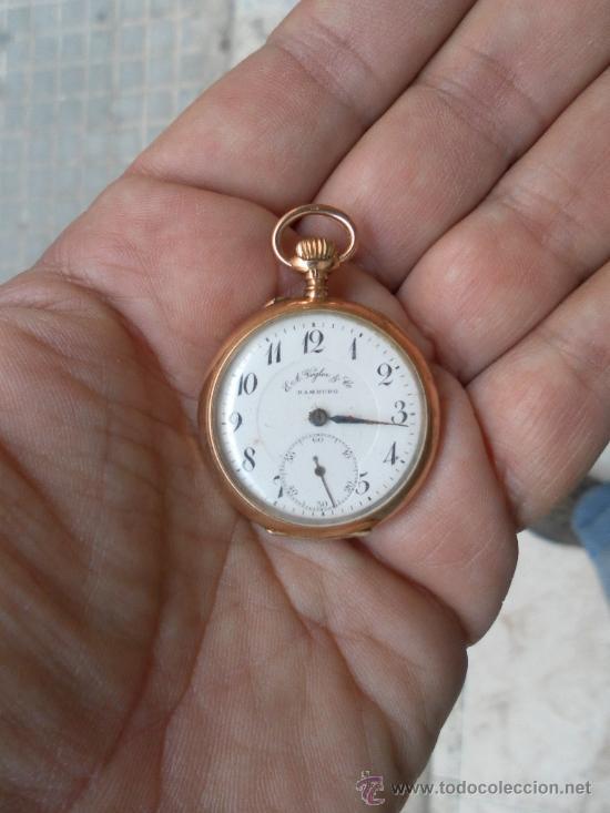 ANTIGUO RELOJ. BOLSILLO. E.A. VOGLER. HAMBURGO. ORO DE 14 QUILATES. (Relojes - Bolsillo Carga Manual)