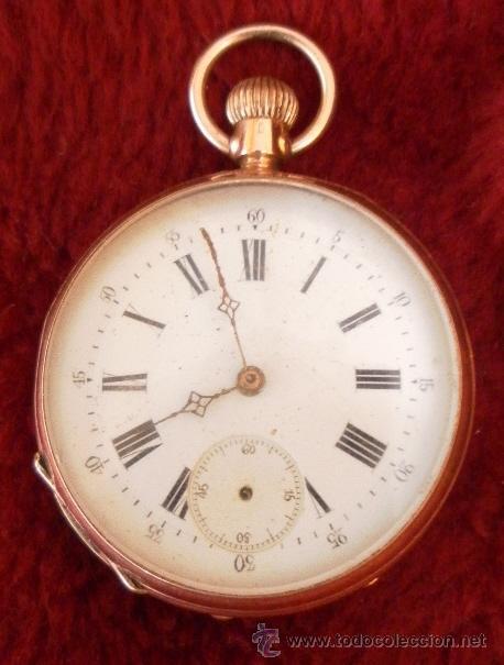 Relojes de bolsillo: Antiguo reloj. Bolsillo. Remontoir. Oro de 14 Quilates. - Foto 2 - 32313026
