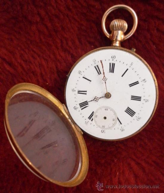 Relojes de bolsillo: Antiguo reloj. Bolsillo. Remontoir. Oro de 14 Quilates. - Foto 3 - 32313026