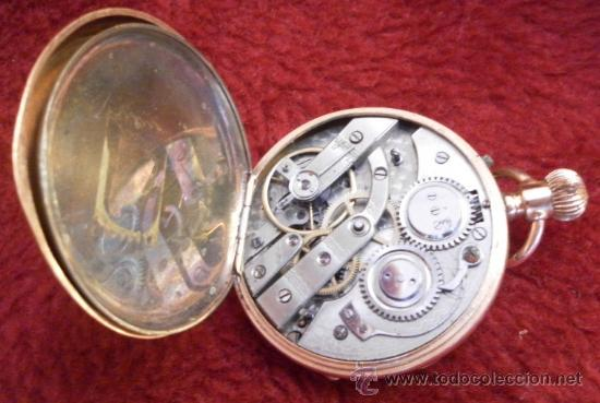 Relojes de bolsillo: Antiguo reloj. Bolsillo. Remontoir. Oro de 14 Quilates. - Foto 5 - 32313026