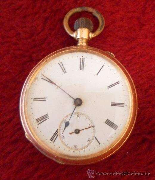 Relojes de bolsillo: Antiguo reloj. Bolsillo. Oro de 14 Quilates. - Foto 2 - 32313124