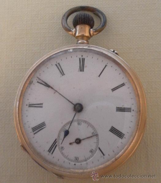 Relojes de bolsillo: Antiguo reloj. Bolsillo. Oro de 14 Quilates. - Foto 3 - 32313124