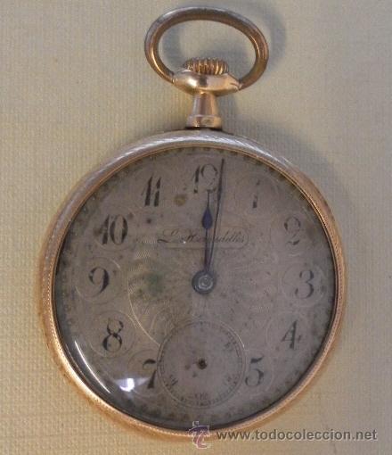 Relojes de bolsillo: Antiguo reloj. L. Hirondelles. Bolsillo. Oro de 18 Quilates. - Foto 2 - 32313214
