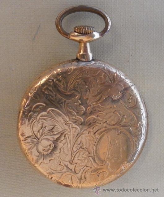 Relojes de bolsillo: Antiguo reloj. L. Hirondelles. Bolsillo. Oro de 18 Quilates. - Foto 3 - 217753102