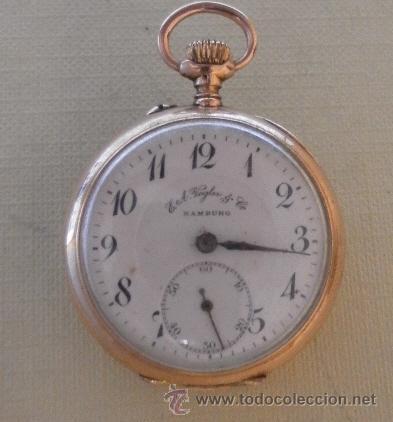Relojes de bolsillo: Antiguo reloj. Bolsillo. E.A. Vogler. Hamburgo. Oro de 14 Quilates. - Foto 3 - 32313259