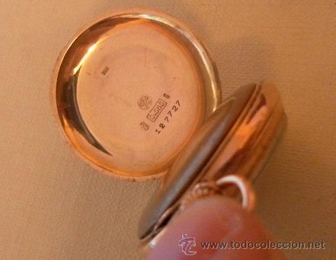 Relojes de bolsillo: Antiguo reloj. Bolsillo. E.A. Vogler. Hamburgo. Oro de 14 Quilates. - Foto 4 - 32313259