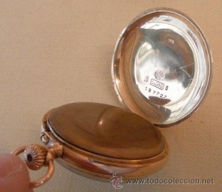 Relojes de bolsillo: Antiguo reloj. Bolsillo. E.A. Vogler. Hamburgo. Oro de 14 Quilates. - Foto 6 - 32313259